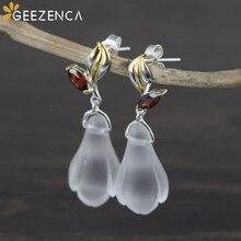S925 Sterling Silver Gold Plated Crystal Orchid Stud Earrings Simple Elegant Trendy Women's Earring Fine Jewelry Gift