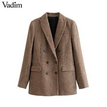 Vadim women formal tweed plaid blazers houndstooth notched collar long sleeve pockets coats office wear casual tops CA600