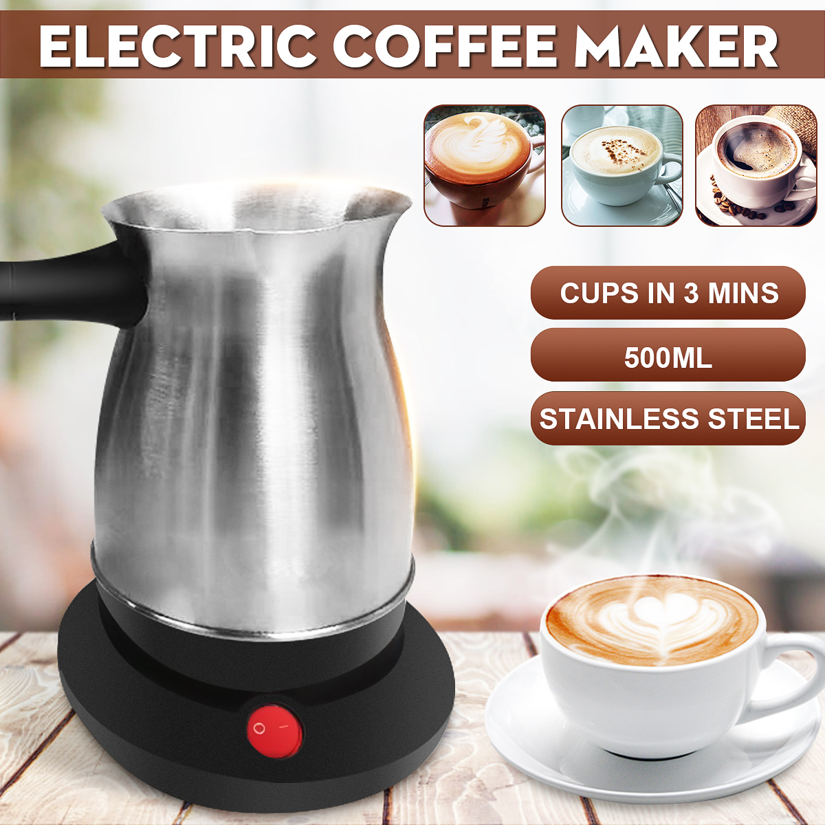 600W 220V Coffee Machine 304 Stainless Steel Turkey Coffee Maker Electrical Coffee Pot Coffee Kettle For Home Office