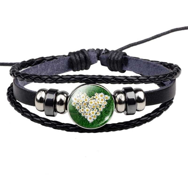 Lucky Rumput Hitam Kulit Gelang Kebanggaan Irlandia Clover Perhiasan Pesona Gelang Hadiah untuk Wanita Pria Shamrock Bangle