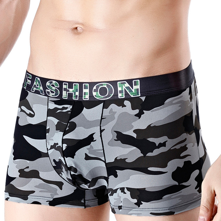 Sexy Underwear Men Boxer Shorts Printed Ice Silk Mid-rise U Convex Pouch Underpants Cueca Calzoncillo Ropa Interior Hombre L-3XL