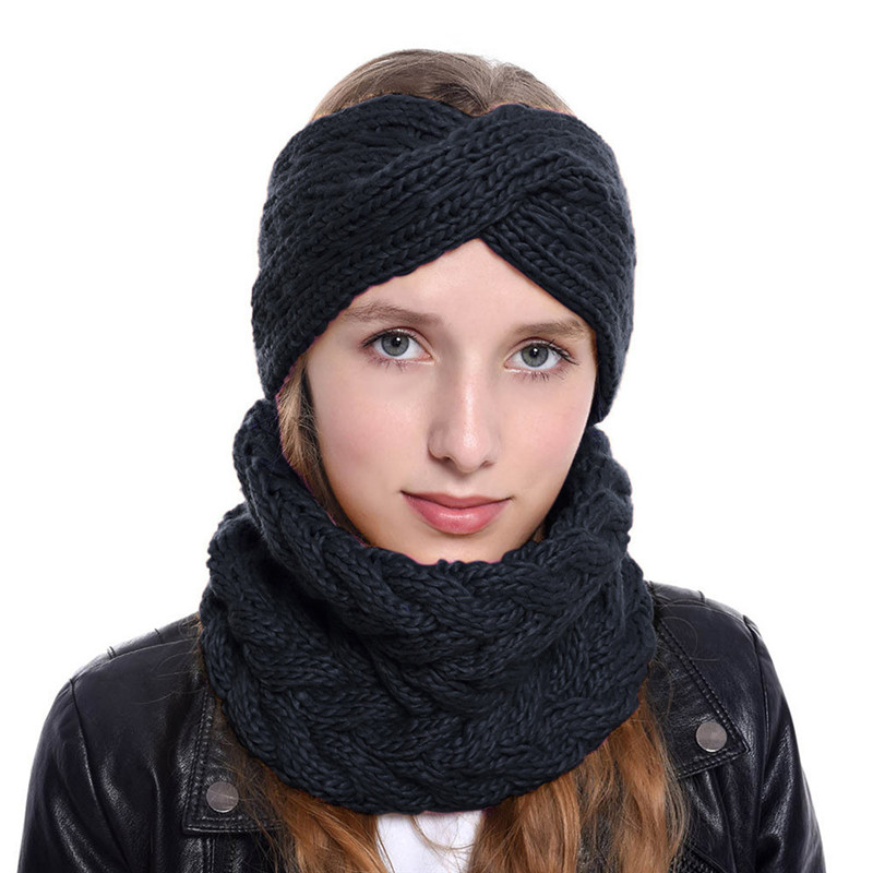 Winter Ear Warmer Circle Knitted Headband Women Thick Female Knit Neck Cowl Loop Elastic Wool Outdoor Riding Sets #40