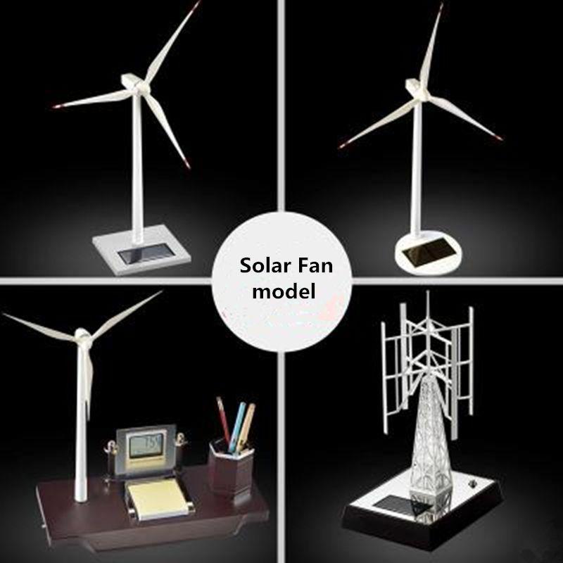 Solar Wind Generator Windmill Model Desk Creative Gift Metal Decoration Gift Commemorative Crafts
