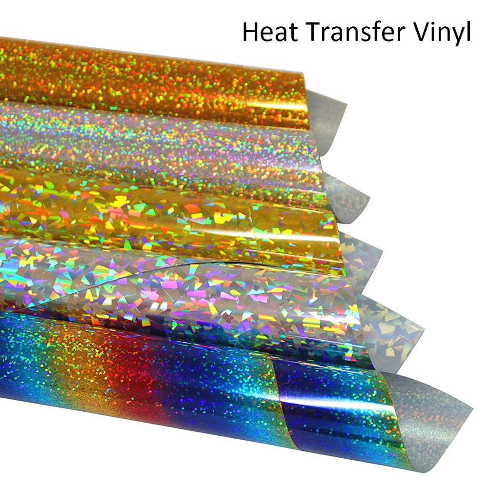 2Pcs A4 Holographic Heat Transfer Vinyl Iron On Vinyl HTV For DIY Clothing,Shirts,Bags,Hats,Socks DIY 10 Colors Choose