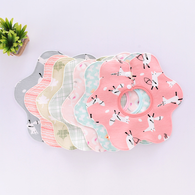 2 Pieces Newborn Baby Boy Girl Bibs 8 Layers Cotton Gauze 360 Degree Rotating Petal Bib Cotton Baby Saliva Towel