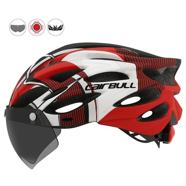 Mais novo bicicleta de estrada mountain bike capacete com tt lens & viseira das mulheres dos homens ciclismo capacete com luz traseira esportes mtb capacete da bicicleta 2