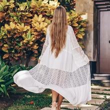 цена на Fitshinling Lace Patchwork Bohemian Beach Cover-Up Flare Sleeve Transparent Sexy Kimono Swimwear Holiday White Long Cardigan New