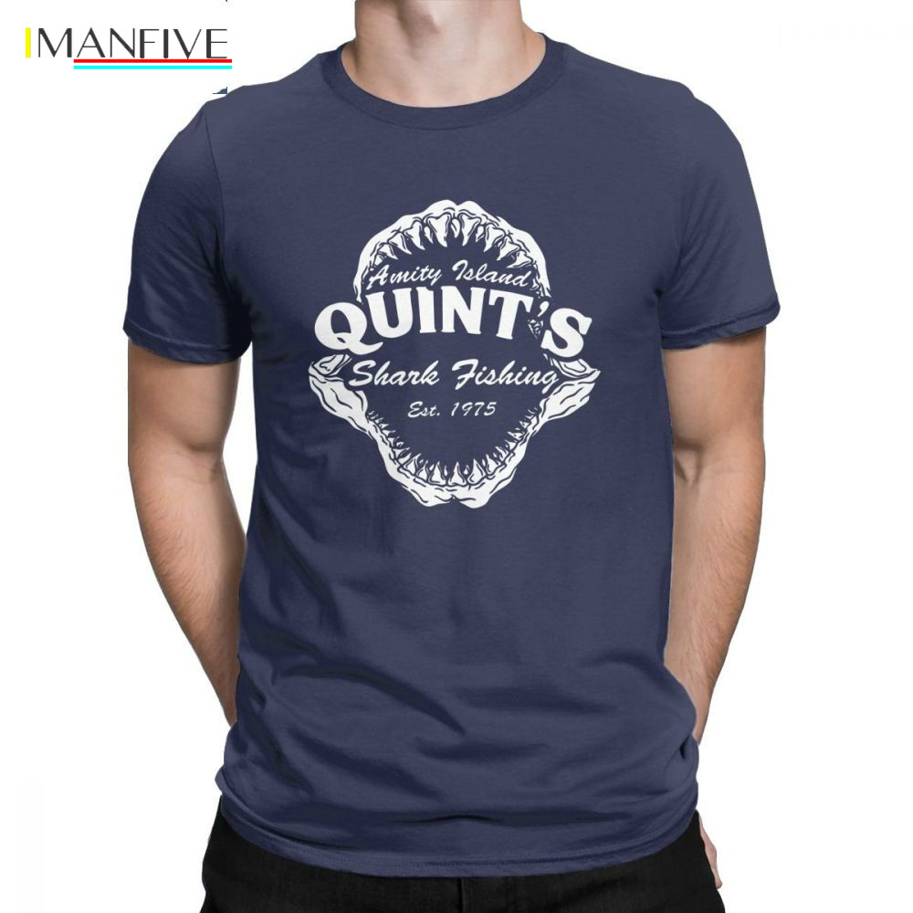 Men T Shirts Quints Shark Fishing Funny Short Sleeve Amity Island 1975 Jaws Tee Shirt O Neck Clothing Cotton Plus Size T Shirt in T Shirts from Men 39 s Clothing