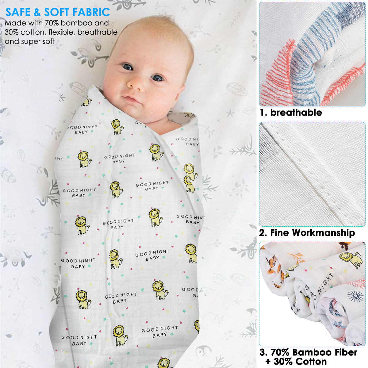 Swaddle Infant Baby Newborn Fleece Blanket Soft Wrap Washable Warm Cover 30x30
