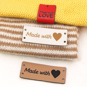 5x2cm Handmade With Love Labels Tags Leather Label For Clothing 20/50Pcs Knitting Tags For Hats Sewing Accessories DIY