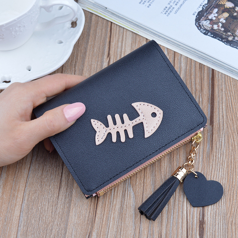 New Women Wallet PU Leather Multi-card Hand Holding Purses Tassel Zipper Fishbone Purse Credit Card Holder Carteira Feminina.