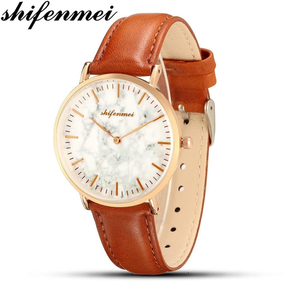 Shifenmei S1075D Retro Design Women Watch Leather Band Dress Womens Watch Business Leather Wristwatch Gift Relogio Masculino