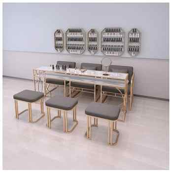 New luxury nail art table and chair set single and double three-person nail shop modern online celebrity iron art nail art table