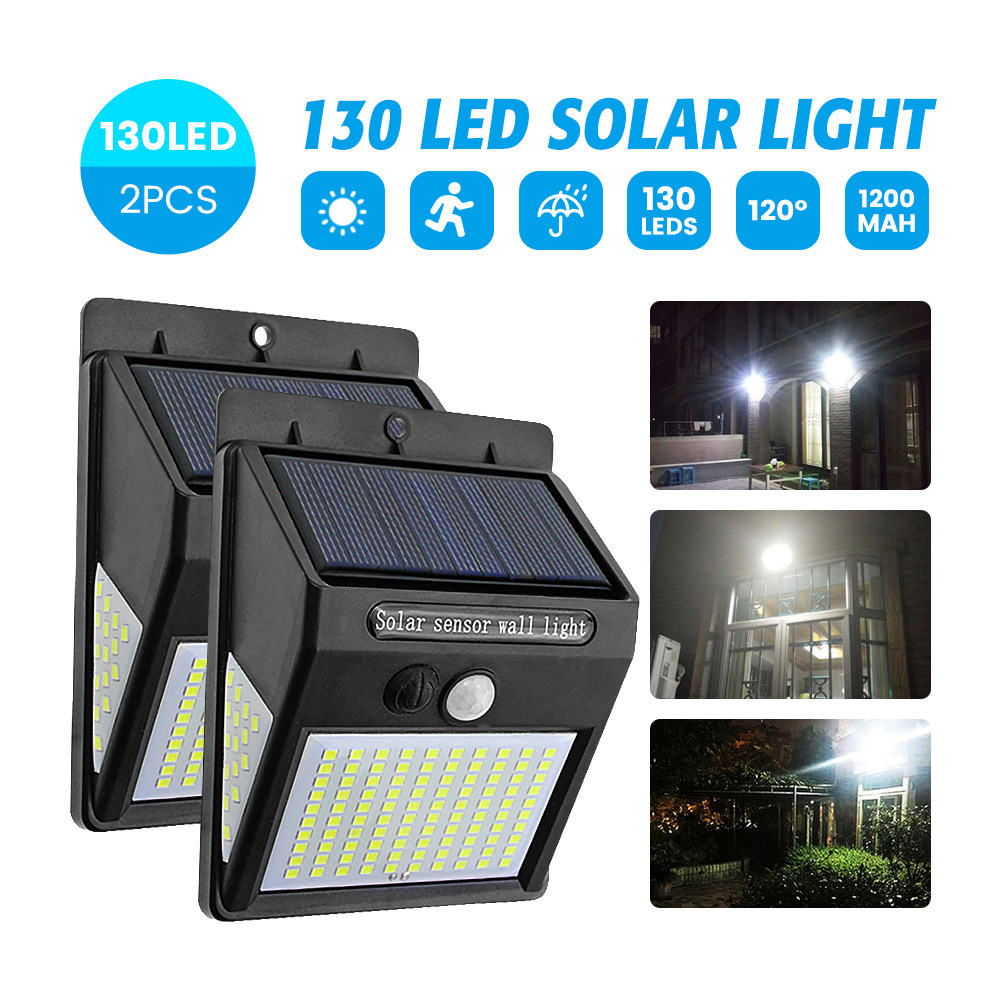 SUNYIMA 2PCS Solar Street Light 130LED Waterproof Solar PIR Motion Sensor Wall Light Solar Garden Lights Fence Pathway Sunlight
