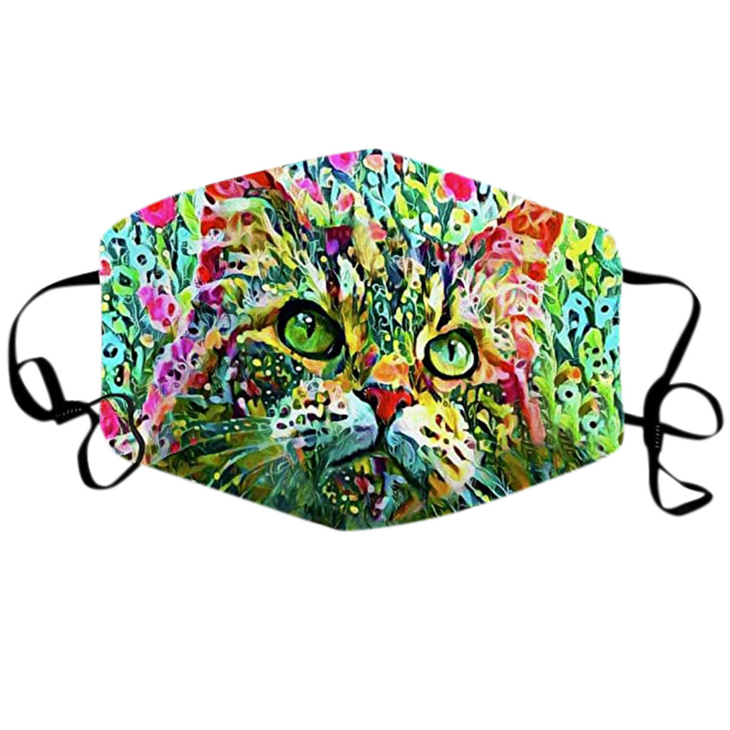 Colorful Cat Themed Face Mask Washable Reusable