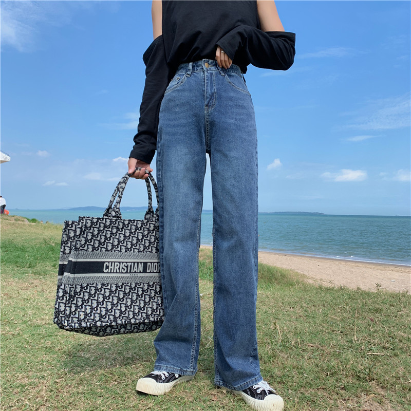 S-XL 2 Colors 2019 Autumn Korean Style Women Loose Long Denim Jeans Womens Casual High Waist Straight Jeans For Women  (Z8733)