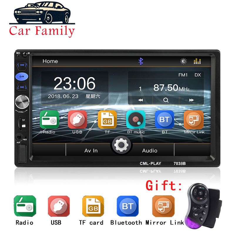 Autoradio 2 Din Car Audio Player 7 LCD Touch Screen Display Support Bluetooth Hands-free Steering Wheel Multimidia MP5 Player image