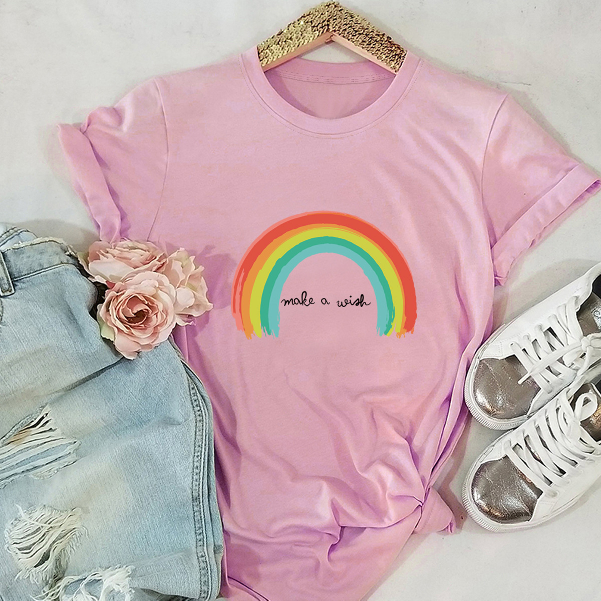 JFUNCY Rainbow Printing Women T-Shirt New 100% Cotton Woman Shirts Plus Size Summer Casual Tshirt Short Sleeve Mujer Tees Tops