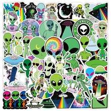 Autocollants dessin animé alien UFO, étiquette de Skateboard, réfrigérateur, téléphone, guitare, ordinateur portable, moto, bagages de voyage, jouet classique, 50 pièces
