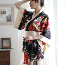 New Style Japanese Women Sexy Kimono Nightgown Lingerie Cosplay Flower Bowknot Temptation Cute Lady Pajama