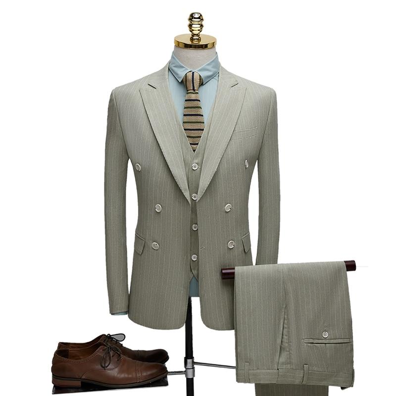 2020 Fashion Men Double Breasted Suit Groomsmen Texudo Wedding Suit For Men British Casual Slim Business Office Suit Blazer