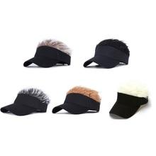 Men Women Golf Fake Flair Hair Sun Visor Hat Cap Baseball Cap Adjustable Breathable Outdoor Sports Camping Hiking 2021