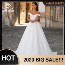 SWANSKIRT מתוקה סאטן חתונת שמלת אופנה 2 ב 1 שרוול אונליין קריסטל חגורת נסיכת Vestido דה novia I303 כלה שמלה