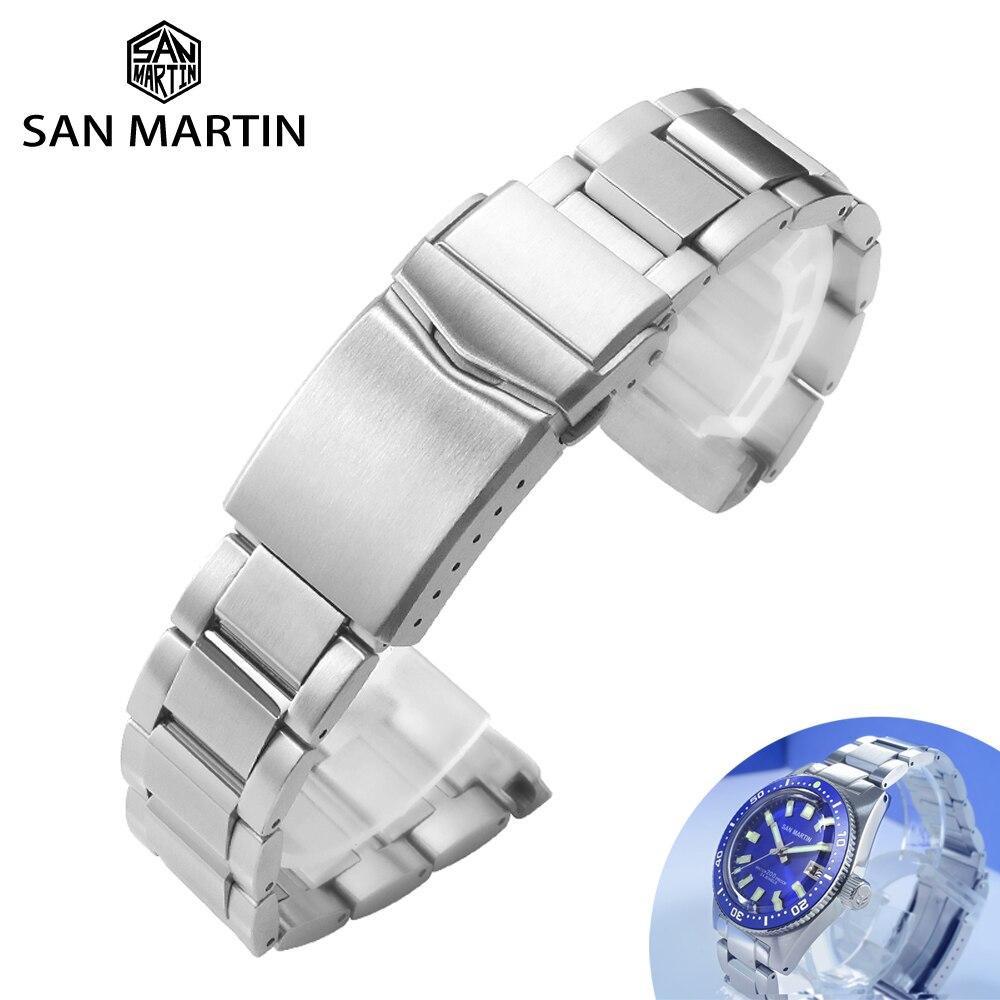 Сан Мартин часы части нержавеющая сталь металлический браслет Твердые два звенья плоские концы 20 мм шлифованная застежка для 62MAS 007 часы|Ремешки для часов|   | АлиЭкспресс