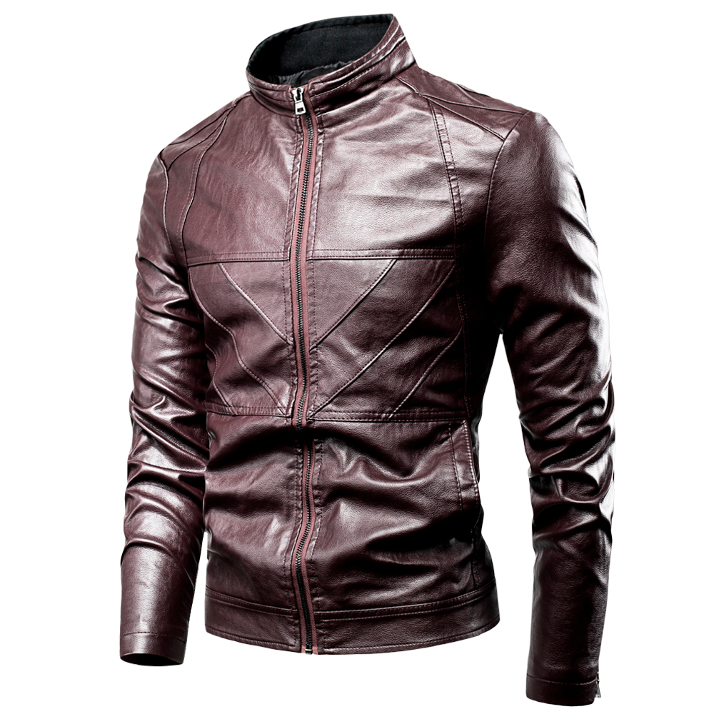 Men 2020 Spring New Motor Causal PU Leather Warm Jacket Coat Men Autumn Fashion Pockets Windproof PU Leather Jacket Men 4XL
