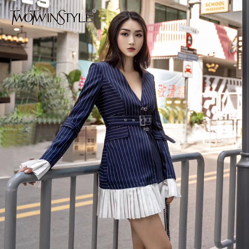 TWOTWINSTYLE Patchwork Pleated Blazer Coat Female Notched Collar Detachable Flare Sleeve With Sashes Striped Womens Suits 2020