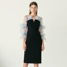 YIGELILA חדש הגעה אופנה שחור שמלת צווארון V שלושה רובע שרוולי שמלת מוצק התלקחות שרוולים באורך הברך ישר שמלת 65469