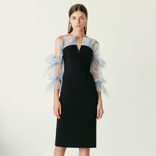 YIGELILA yeni varış moda siyah elbise v yaka üç çeyrek kollu elbise katı Flare kollu diz boyu düz elbise 65469