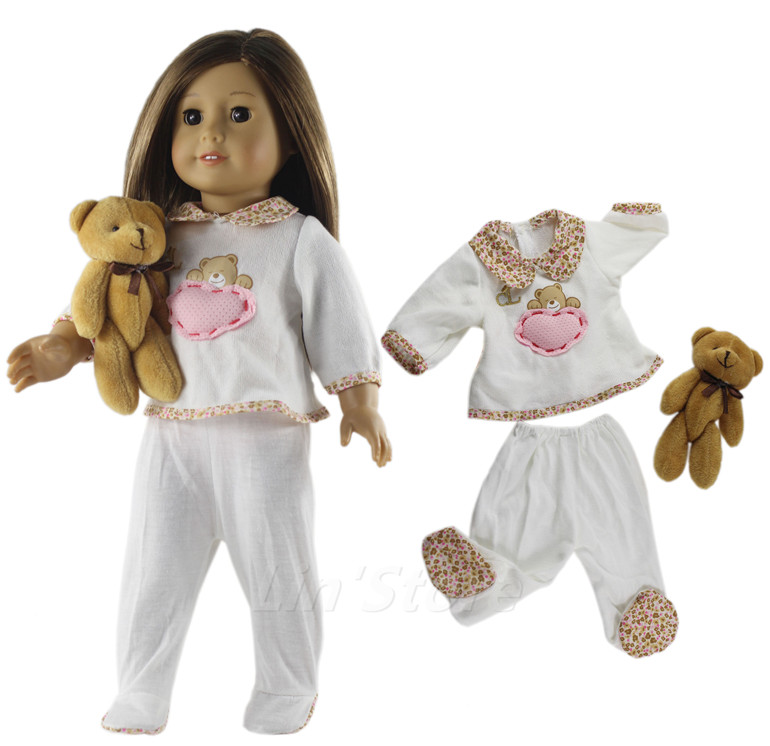 1 Set Doll Clothes Top+pants For 18'' Inch American Doll Handmade Sleepwear