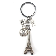 New (A-Z) Letter Personality Custom Earth Paris Tower Keychain Camera Pendant Travel Key Ring Friendship Jewelry Diy Handmade 1pc earth airplane keychains no matter where pendant travel keyring friendship best friend jewelry diy handmade