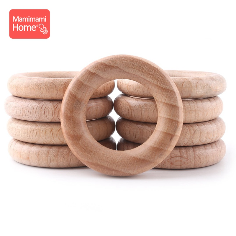 Mamihome 50pc 40mm-70mm Beech Wooden Ring Baby Teether  BPA Free Wooden Blank Rodent DIY Nursing Bracelets Children'S Goods Toys