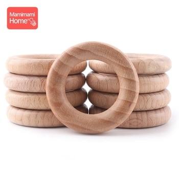 Mamihome 50pc 40mm-70mm Beech Wooden Rings Baby Teether BPA Free Wooden Blank Rodent DIY Nursing Bracelets Children'S Goods Toys