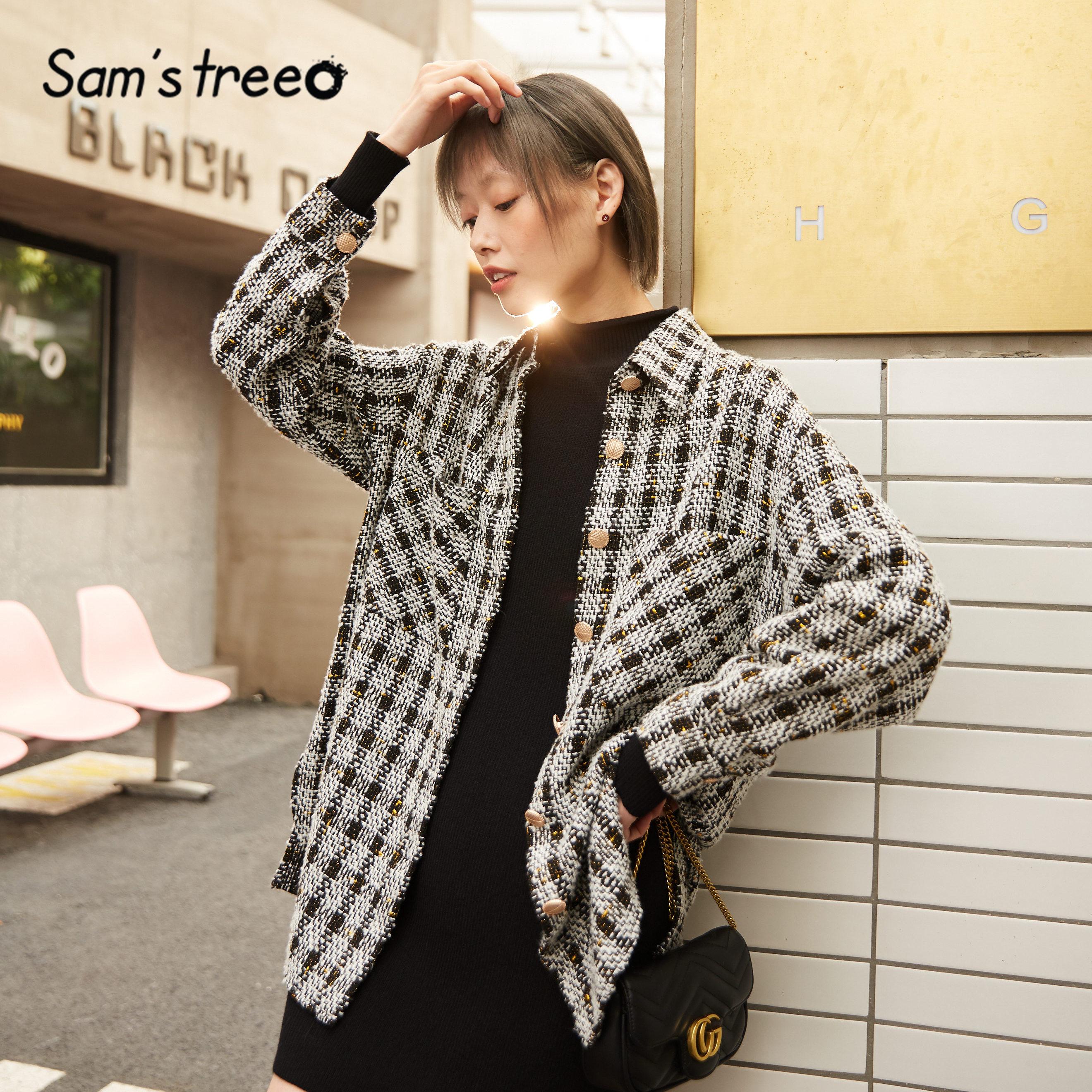 SAM'S TREE White Plaid Single Breasted High Low Women Tweed Jacket 2020 Spring Black Drop Shoulder Sleeve Casual Ladies Outwears