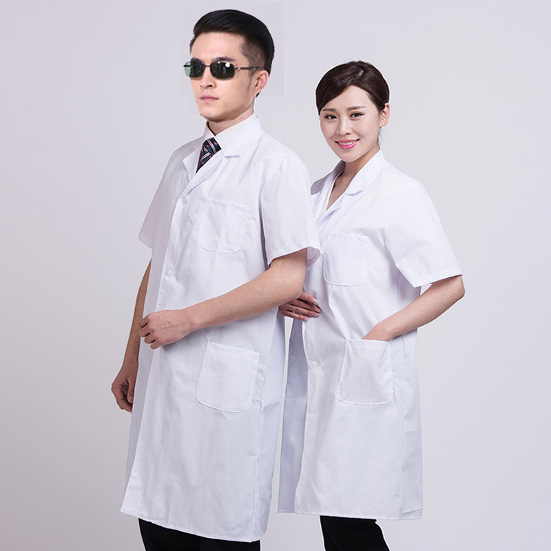 New Hot Summer Unisex White Lab Coat Short Sleeve Pockets Uniform Work Wear Doctor Nurse Clothing SMR88