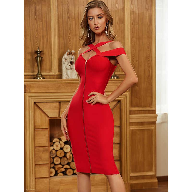 Solid Nude ผู้หญิงฤดูร้อน Bodycon ผ้าพันแผลชุด Vestidos 2020 เซ็กซี่ปิดด้านหน้าซิปสีแดง Elegant Evening PARTY