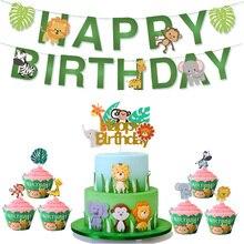 Adornos de feliz cumpleaños, Topper de pastel de Animal, decoraciones para fiesta de cumpleaños, Topper de Cupcake para niños, suministros de jungla para fiesta de Safari