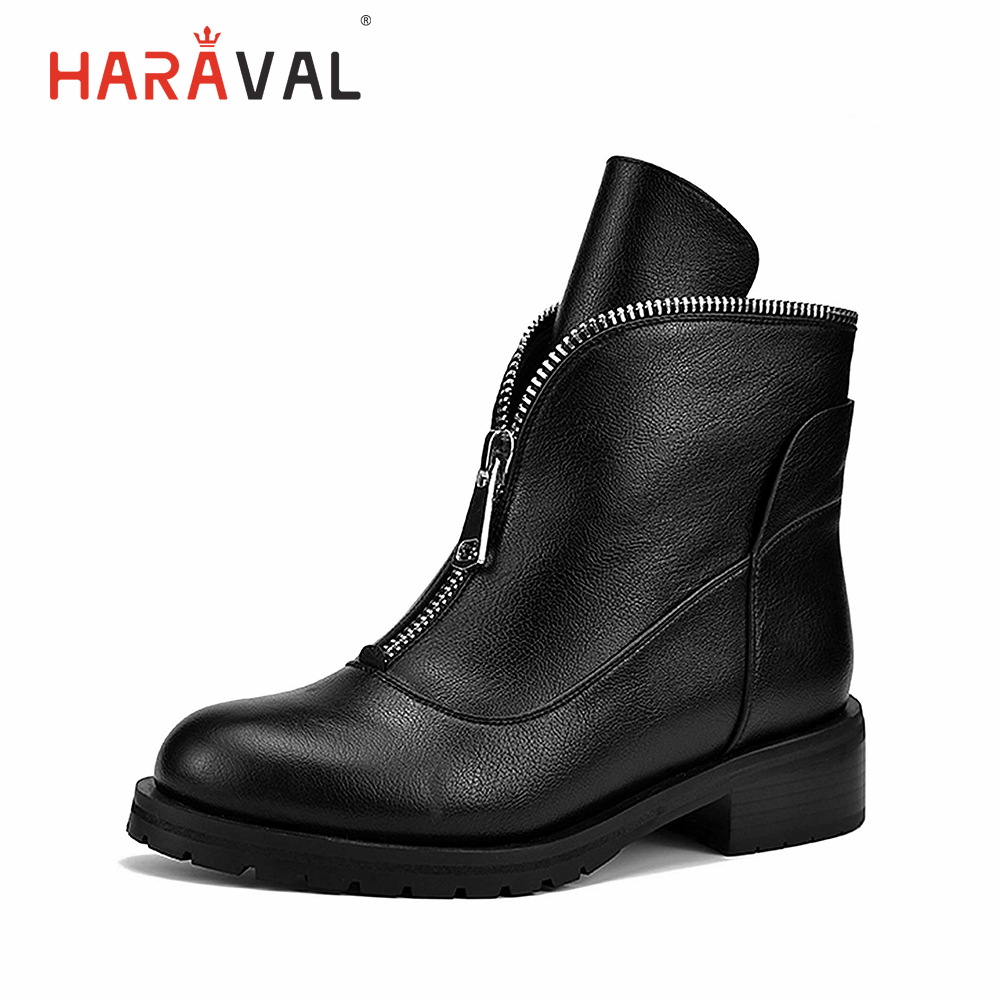 HARAVAL New Fashion Women Winter Ankle Boots Luxury Round Toe Thick Heels Shoes Classic Basic Zipper Solid B202