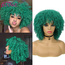 HANNE Short Kinky Curly Synthetic Wigs With Free Bangs Green/Black/Purple/Red Wig For Black Women Cosplay or Party Wigs