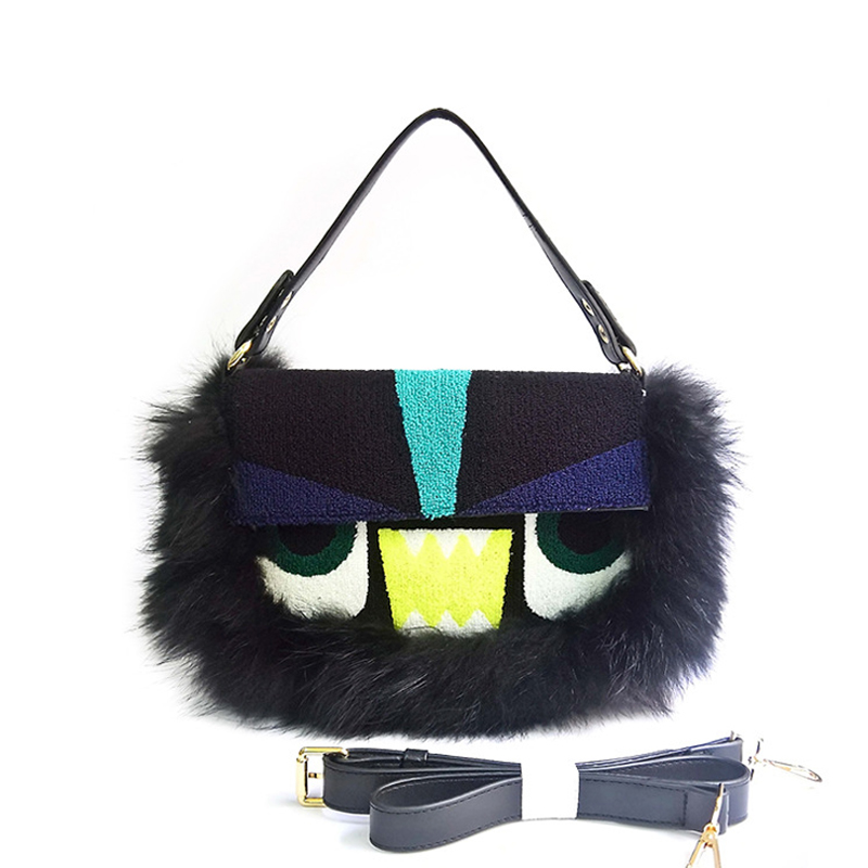 Big Eye Bag Three Function Real Leather Envelope Fur Purse Hand bags Tote for Women 2020 Winter Crossbody Clutch Purse Bags Bols