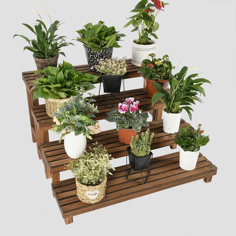 Wood Rak Bunga Estanteria Para Macetas Soporte Plantas Interior Stojak Na Kwiaty Outdoor Stand Balcony Flower Rack Plant Shelf