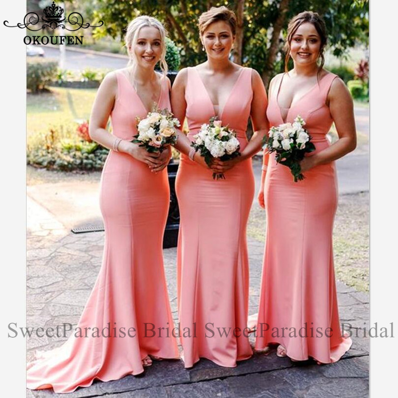 Pink Plunging Neck Bridesmaid Dresses Vestido Madrinha Customize Mermaid Long Maid Of Honor Wedding Guest Dress For Women