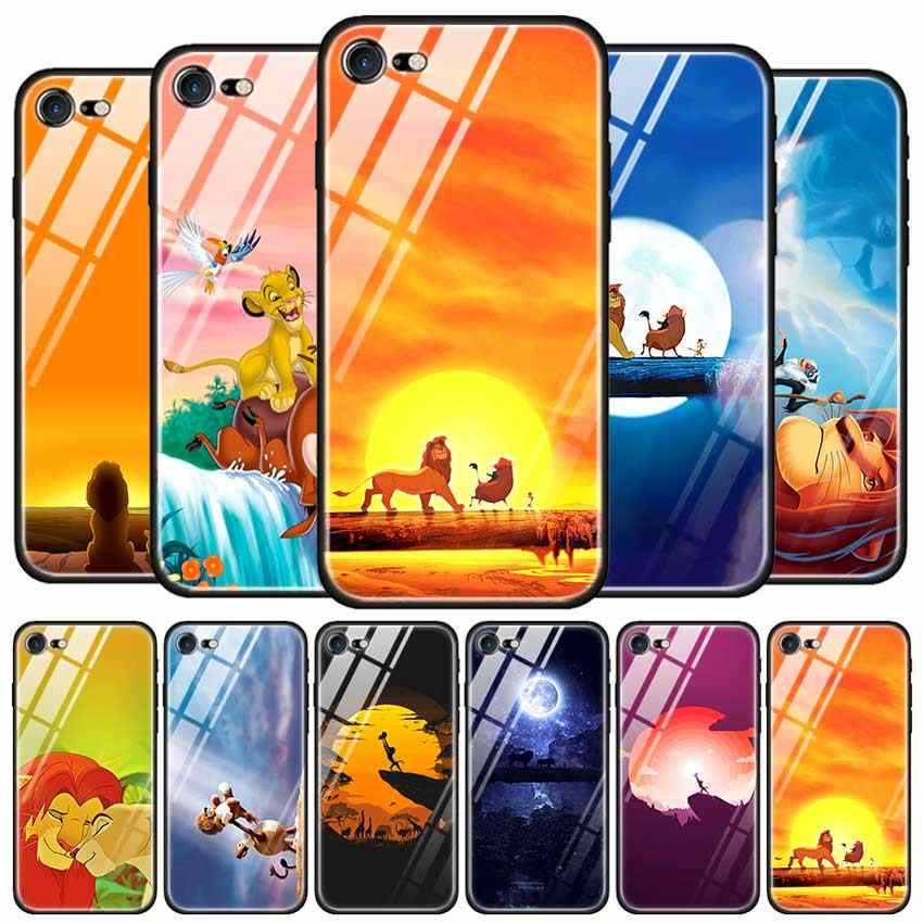 Tempered Glass Case for Apple iPhone 8 7 6 6S Plus Case Cover for iPhone 11 11Pro XS MAX XR X AnimeThe Lion King