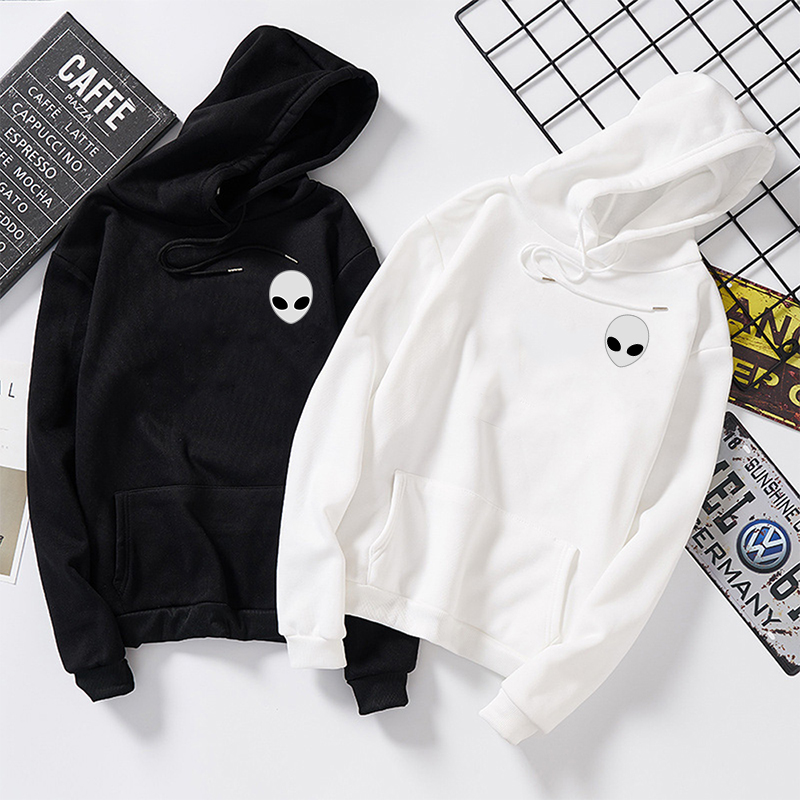 Winter Alien Print Solid Hoodies Women Men Loose Long Sleeve Plus Size Hooded Sweatshirts Cute Harajuku Autumn Pullovers Moletom