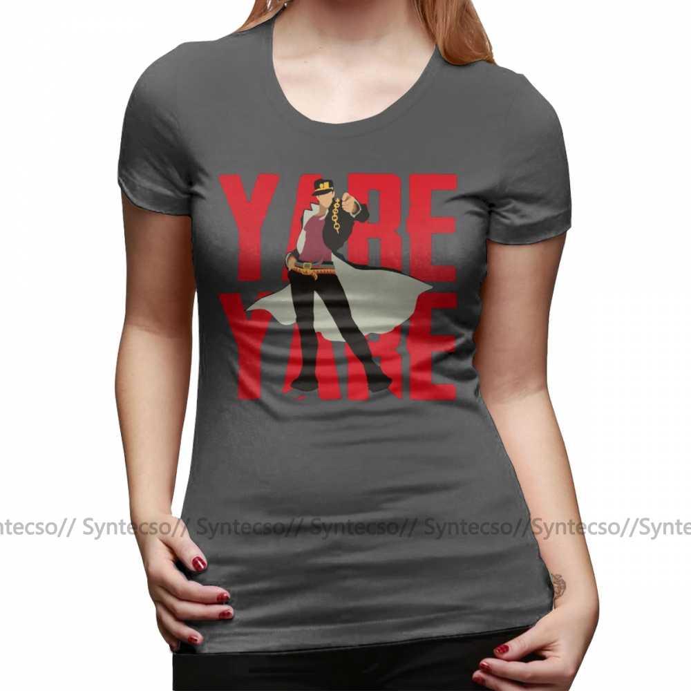 Jojos Bizarre aventure T-Shirt Jotaro Kujo T-Shirt à manches courtes femmes à la mode T-Shirt rouge été graphique col rond dames T-Shirt