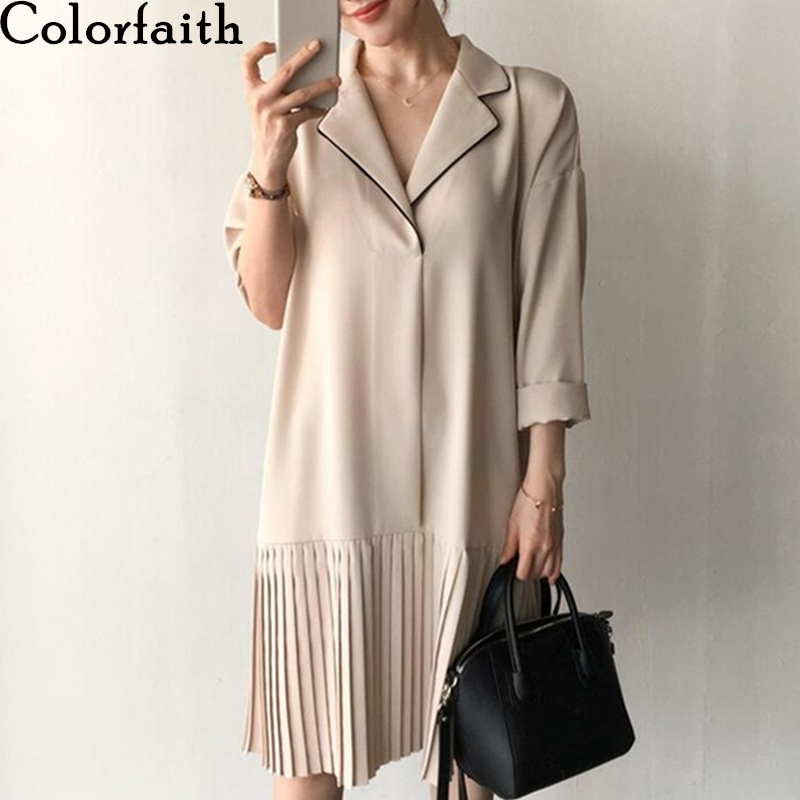 Colorfaith New 2020 Spring Summer Women Dresses Vintage Notched Patchwork Fashionable Loose Elegant Pleated Midi Dress DR6406