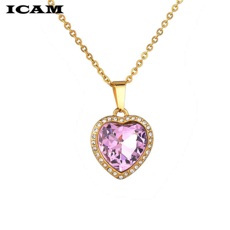 ICAM 2018 الساخن كريستال القلب قلادة للنساء رومانسية الأزياء الكلاسيكية الراين السيدات فتاة المختنق طوق الذهب الفضة